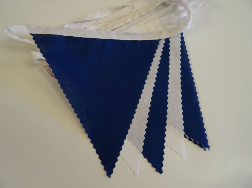 BUNTING White & Royal Blue - 3m/10ft or 5m/16ft